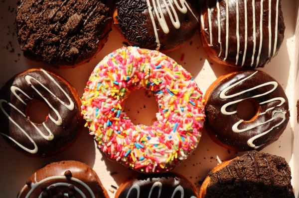 top view photo of donuts